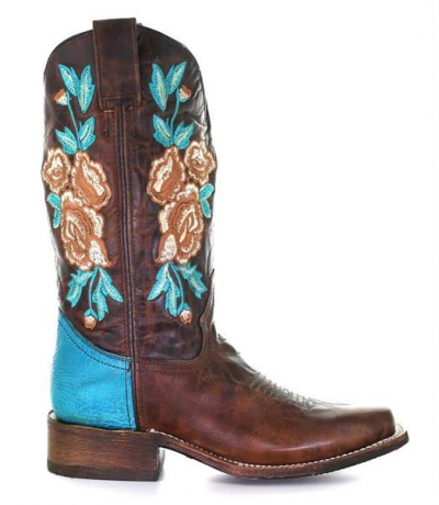 Corral Women's Boots Rodeo Roses Turquoise