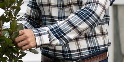 Key Men's Fort Scott Plaid Flannel Shirt flanellipaita, Blue Wheat