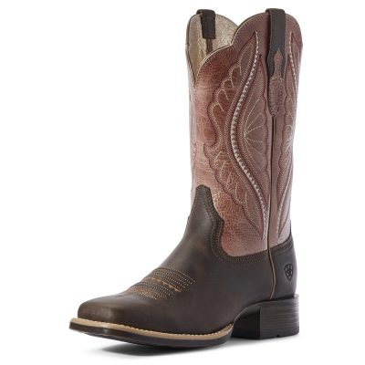 Ariat Women's PrimeTime Western Boot, Dark Java/Petal Pink